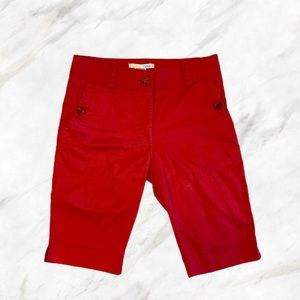Lija | Red Bermuda Golf Shorts w/ Buttons